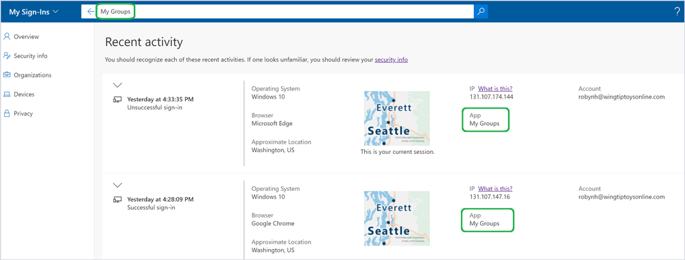 Azure AD My Sign-Ins 5